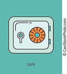 coffre-fort, concept, plat, sûr, ligne, icône