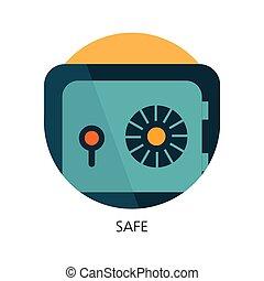 coffre-fort, sûr, concept, plat, icône