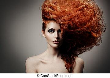 coiffure, beauté, portrait.