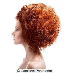 coiffure, beauté, updo, portrait., fond, blanc