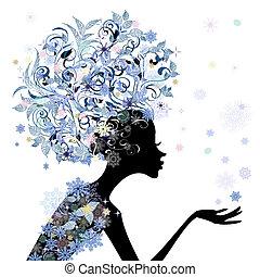 coiffure, fleur, conception, branché, girl, ton