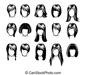 coiffure, grand, collection