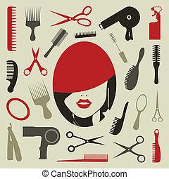 coiffure, icône