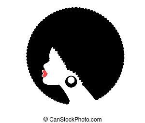 coiffure, isolé, vecteur, américain africain, top model noire, femme, silhouette., profil