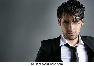 coiffure, mode, jeune, complet, branché, portrait, homme