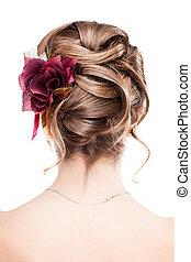 coiffure, moderne, mariage