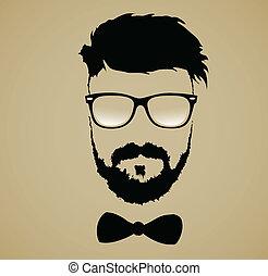 coiffure, moustache barbe, lunettes