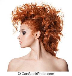 coiffure, portrait., beauté