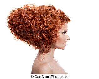 coiffure, updo, beauté, portrait., fond, blanc