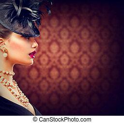 coiffure, vendange, maquillage, retro, appelé, woman., girl
