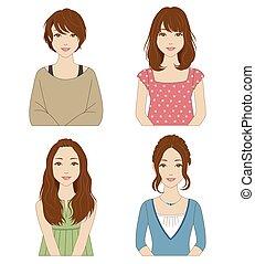 coiffures, différent, femmes