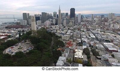 coit, francisco, san, ville, sur, en ville, horizon, tour californie