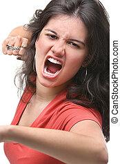 colère, femme, jeune, elle, exprimer