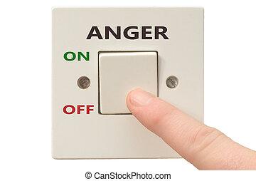 colère, gestion, commutateur, fermé