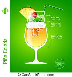 colada, pina, cocktail