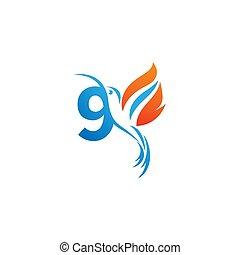 colibri, combiné, logo, 9, icône, nombre, aile, brûler