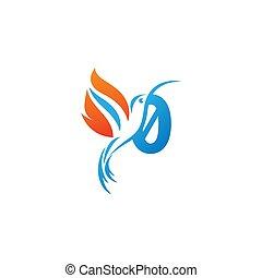 colibri, combiné, logo, icône, nombre, aile, brûler, 0