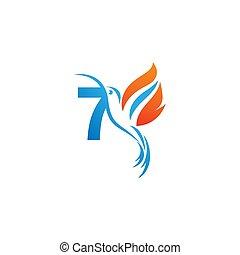 colibri, logo, icône, nombre, brûler, aile, combiné, 7