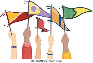 collège, drapeaux, mains