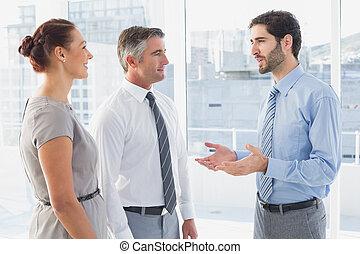 collègue, bavarder, homme affaires