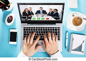 collègue, conférence, bavarder, elle, vidéo, homme affaires