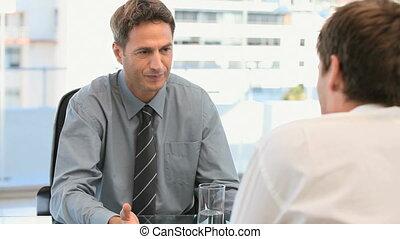 collègue, conversation, sien, homme affaires