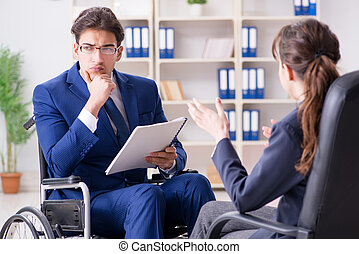 collègue, discussion, handicapé, femme, homme affaires, avoir