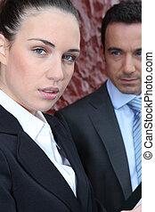 collègue, femme affaires, mâle