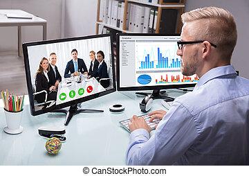 collègue, homme affaires, sien, communication visuelle