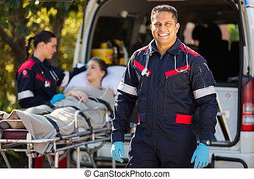 collègue, infirmier, patient, fond