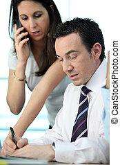 collègue, mâle, femme, business