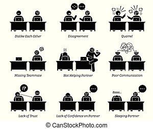 collègue, partenaires, business, fonctionnement, bureau., ensemble, lieu travail, inefficiently