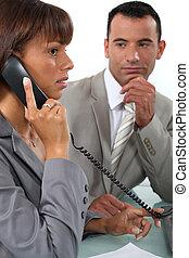 collègue, téléphone, sien, observer, homme