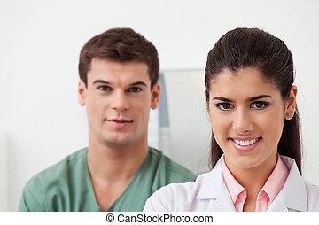 collègue, tenir, docteur féminin