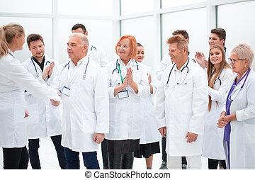 collègues, achievements., discuter, monde médical, groupe, leur