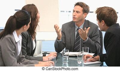 collègues, conversation, sien, homme affaires
