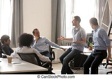 collègues, entraîneur, affaires entraînant, conversation, divers