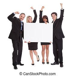 collègues, groupe, business, heureux