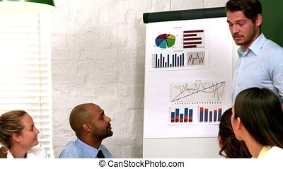 collègues, homme, données, présentation