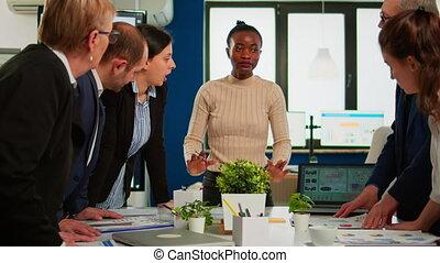 collègues, multiethnic, brain-storming, professionnels, equipe affaires, réunion