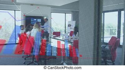 collègues, réunion, business, statistiques, projection, animation, données, interface