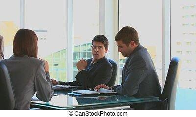 collègues, réunion, pendant