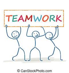 collaboration, 3, stickman, bannière