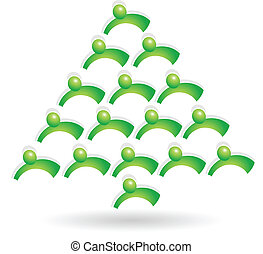 collaboration, arbre vert, logo