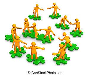 collaboration, compagnie, vert, puzzle, business