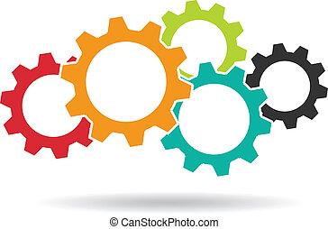 collaboration, concept, logo., engrenages