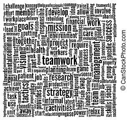 collaboration, concept, mot, nuage, étiquette