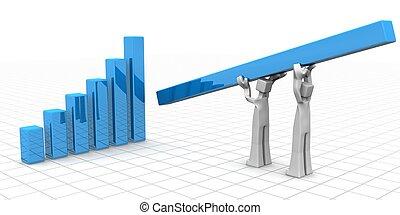 collaboration, concept, succès financier, croissance