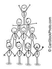 collaboration, diagramme, organisation