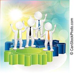 collaboration, engrenages, gens, 3d